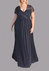 Navy Blue Patchwork Zipper Lace Deep V-neck Short Sleeve Elegant Maxi Dress