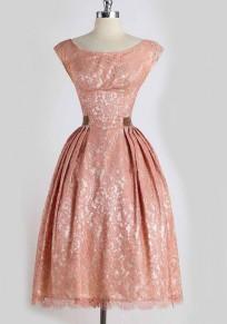Pink Patchwork Lace Pleated Round Neck Sleeveless Midi Dress