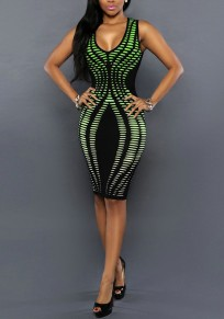 Green Striped Digital Print Sleeveless Bodycon Bandage Party Club Midi Dress