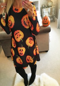 Black Pumpkin Head Print Round Neck Long Sleeve Halloween Party Mini Dress