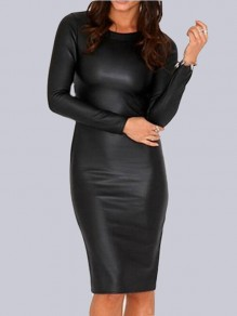 Black Faux Pu Leather Bodycon Round Neck Long Sleeve Club Party Midi Dress