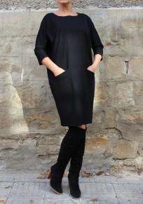 Mi-longue robe avec poches col rond manches 3/4 décontracté noir