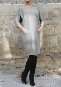 Mi-longue robe avec poches col rond manches 3/4 décontracté gris