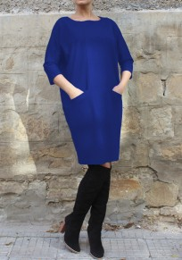 Mi-longue robe avec poches col rond manches 3/4 décontracté bleu