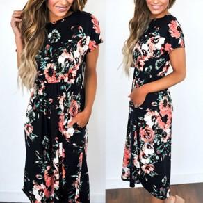 Black Floral Print Pockets Round Neck Sweet Midi Dress