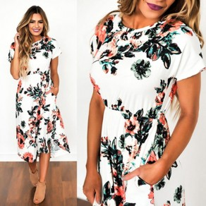 White Floral Print Pockets Round Neck Sweet Midi Dress