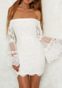 White Patchwork Lace Off Shoulder Grenadine Flare Sleeve Bodycon Party Mini Dress