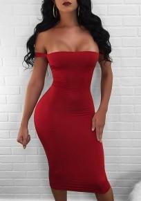 Red Drawstring Cut Out Boat Neck Fashion Midi Dress