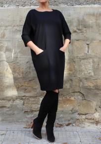 Black Pockets Round Neck Casual Polyester Midi Dress