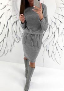Grey Pockets Drawstring Round Neck Long Sleeve Fashion Midi Dress