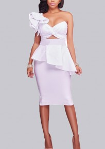 White Ruffle One-shoulder Backless Two Piece Lace-up Peplum Prom Evening Party Mini Dress