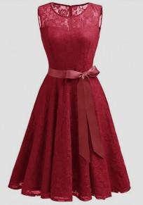 Wine Red Patchwork Lace Draped Bow Belt Sleeveless Elegant Midi Dress