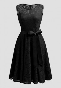 Black Patchwork Lace Draped Bow Belt Sleeveless Elegant Cocktail Party Midi Dress