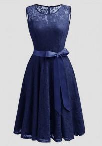 Midi-robe dentelle drapée nœud papillon ceinture sans manches élégante marine