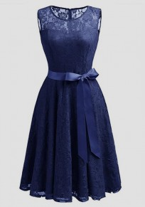 Navy?Blue Patchwork Lace Draped Bow Belt Sleeveless Elegant Midi Dress