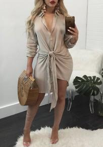 Apricot Single Breasted Ribbons Turndown Collar Fashion Mini Dress