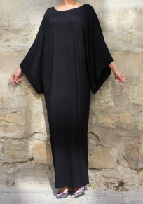 Black Draped Round Neck Long Sleeve Loose Casual Maxi Dress
