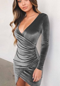 Grey Plain Irregular Pleated V-neck Fashion Mini Dress