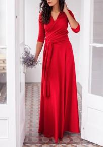 Vestido largo fajines drapeados multi-way fiesta de baile banquete de boda de cuello en V profundo rojo