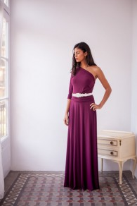 Robe longues ceinture drapé bandge irrégulière v-cou élégant de soirée violet