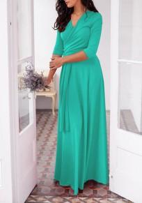 Vestido largo fajines drapeados multi-way fiesta de baile banquete de boda profunda en v-cuello verde turquesa