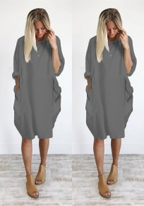 Grey Plain Pockets Round Neck Casual Midi Dress