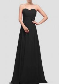 Schwarz drapiert Bandeaukleider ärmellose Elegantee Brautkleider Maxi-Kleid