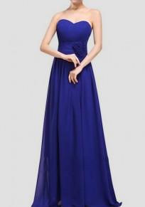 Maxi vestito fascia drappeggiata senza maniche abiti da sposa eleganti blu