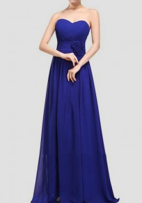 Blau drapierte Bandeaukleider ärmellose Elegantee Brautkleider Maxi-Kleid