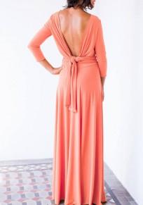 Vestido largo corte drapeado sin espalda manga larga cóctel elegante rosa