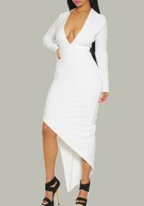 Midi-robe décolleté plongeant irrégulier manches longues haut-bas blanc