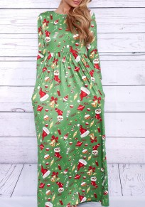 Green Christmas Hat And Christmas Stockings Print Pleated Fashion Maxi Dress