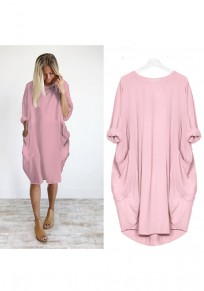 Pink Pockets Irregular Ruffle Round Neck Elegant Midi Dress