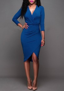 Royal Blue Irregular Ruched Bodycon Deep V-neck Long Sleeve Party Midi Dress