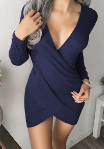 Blau Unregelmäßig V-Ausschnitt Strick Langarm Bodycon Enges Minikleid Party Pulloverkleider