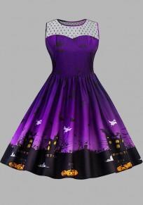 Midi-robe grenade plissée citrouille imprimé halloween plus taille tutu violet