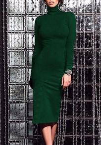 Mi-longues robe col roulé manches longues slim moulante mode vert