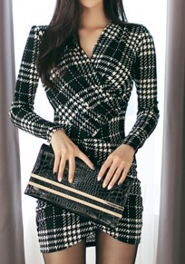 Black Wrap Plaid Fitted V-neck Long Sleeve Slim Elegant Workwear Tartan UK Mini Wool Dres