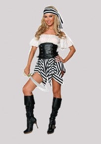 Black Striped Irregular Drawstring Off Shoulder Pirates Of The Caribbean Hallowmas Mini Dress