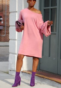 Pink Asymmetric Shoulder Long Sleeve Casual Midi Dress