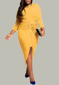 Yellow Irregular Slit Knot Round Neck Long Sleeve Plus Size Wrap Midi Dress