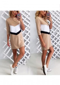 Khaki Patchwork Round Neck Elbow Sleeve Fashion Mini Dress