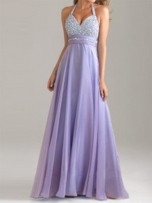 Purple Patchwork Sequin Draped Backless Halter Neck Flowy Elegant Bridesmaid Maxi Dress
