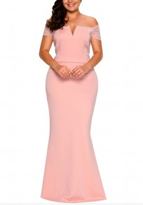 Pink Bandeau Zipper Off Shoulder Backless Plus Size Banquet Prom Party Maxi Dress