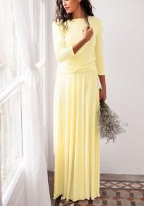 Vestido largo liso fajas irregulares v-cuello moda amarillo