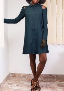 Dark Grün Ausgeschnitten Anstecker Umlegekragen Langarm Mode Minikleid
