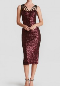 Burgundy Spaghetti Strap Cut Out Sequin Sleeveless Elegant Midi Dress