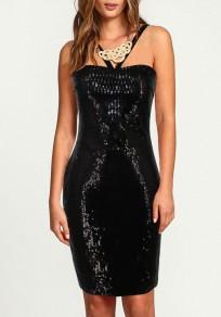 Black Sequin Off Shoulder Backless Halter Neck Bodycon Party Mini Dress
