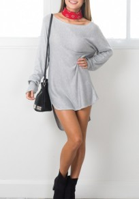Grey Irregular High-low Round Neck Long Sleeve Mini Dress