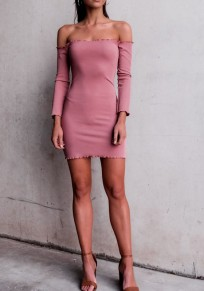 Pink Off Shoulder Backless Long Sleeve Mini Dress